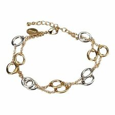 "Genuine Gold Finish Two Tone Two Row Open Circles 71"" Link Bracelet"
