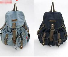 women Travel denim Vintage shoulder handbag Backpack Rucksack messenger Bag