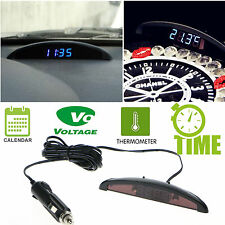 12V Digital LED Alarm Electronic Clock Car Calendar Voltmeter Thermometer Black