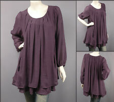Purple Long Sleeve Scoop Neck Layered Blouse Tunic Top XL/1X