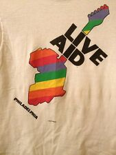 VINTAGE LIVE AID T-shirt(Harder To Find)RARE VersioN-BANDS  Listed On Back