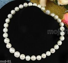 "Genuine Large 12-13mm Natural White Freshwater Cultured Pearl Necklace 18"" AAA+"