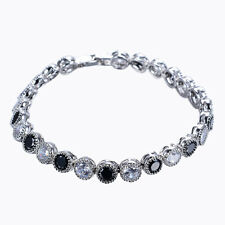 6MM Black Sapphire&Zircon Tennis Bracelet Claw Bezel-Set 10Kt White Gold Filled