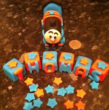 Edible Thomas The Tank Engine, Stars Name Block Cake Topper Icing Decoration