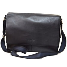 NEW COACH Men's leather Messenger shoulder laptop bag Crossbody Black Navy