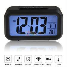 Digital Alarm Desk Clock LED Light Backlight Time Calendar Thermometer Snooze