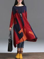 Red Women Fashion Casual Color Block Tribe Asymmetric Knit Pullover Hoodie Dress