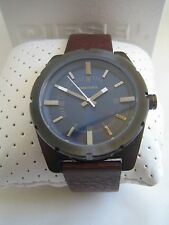 DIESEL WATCH GOOD COMPANY DZ 1598 GUNMETAL BROWN LEATHER BNIB