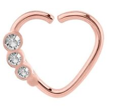 Rose Gold Steel Continuous Heart Ring With 3 Crystal Gems For RIGHT ear