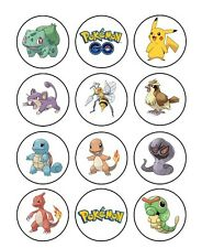 12 x Pokemon Go Characters Edible Cupcake Topper Birthday Party Cake Decoration