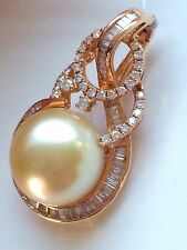 RARE 15MM GOLDEN SOUTH SEA PEARL & DIAMOND PENDANT 18CT ROSE GOLD & VALUATION