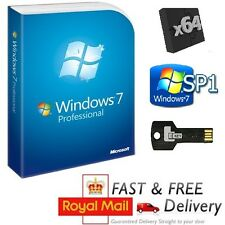 Windows 7 Professional 64-bit SP1 Full Version & License COA Product Key on USB