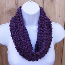 SUMMER SCARF Solid Grape Dark Purple Short Small Cowl Infinity Loop, Neck Warmer