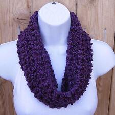 SUMMER SCARF Solid Grape Dark Purple Short Small Cowl Infinity Loop, Neck Warmer
