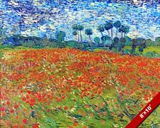 POPPY FIELDS VINCENT VAN GOGH LANDSCAPE PAINTING ART REAL CANVAS PRINT