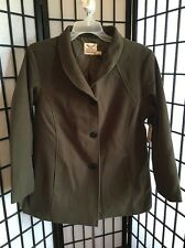 Faded Glory Size 1XL 16W Plus Olive Faux Wool Button Front Outerwear Coat NWT