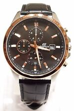 CASIO Edifice Men Chronograph Black Leather Black Watch EFR-512L-1 100% Original