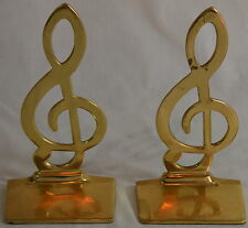 Brass Musical Notes Book Ends