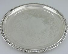 "VINTAGE SILVER PLATE ROUND SERVING TRAY ENGRAVED SILVERWARE 9 3/4"" ROGERS"