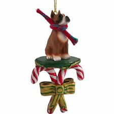 BOXER Cropped Ears Dog Candy Cane Christmas Tree ORNAMENT