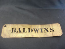 Old Vtg Collectible Brass Baldwin's Name Door Wall Plate Decorative