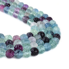 0450 8mm Carved multi-color fluorite lotus flower loose gemstone beads 16""
