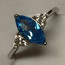 Marquise 1ct London Blue Topaz 925 Solid Sterling Silver Solitaire Ring sz 9