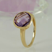 Ring in 585/- Gelbgold mit 1 Amethyst facettiert - NEU
