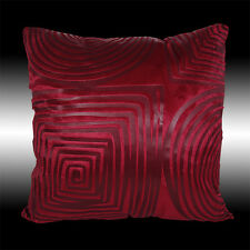 ABSTRACT BURGUNDY SQUARE CIRCLE SOFT VELVET CUSHION COVER THROW PILLOW CASE 17""