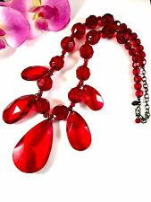SENSATIONAL SIGNED JOAN RIVERS RUBY RED LUCITE LARGE BEAD DROP NECKLACE PENDANT
