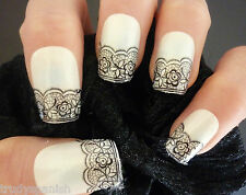 3D Nail Art Lace Stickers Decals Black Lace Vintage Flower Design Nail Art - NEW