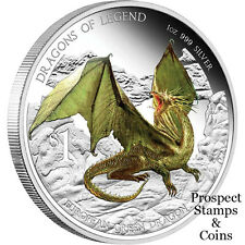 2013 Dragons of Legend - European Green Dragon 1oz Silver Proof Tuvalu Coin