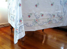 "Vintage Floral Embroidered 100% Cotton Tablecloth 45"" x 60"" L Handmade"