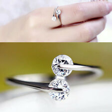 Women Fashion Silver Plated Double Zircon Ring Luxury Rhinestone Opening Rings