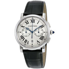 Cartier Rotonde Cartier Automatic Chronograph Silver Dial Black Leather Mens