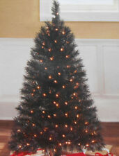 4ft PRE LIT BLACK INDIANA SPRUCE HOLIDAY CHRISTMAS TREE Halloween Gothic