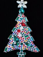 PRONG SET SILVER BAGUETTE PEAR RHINESTONE CHRISTMAS TREE PIN BROOCH JEWELRY 3.5