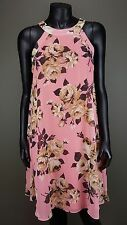 CUTE BETSEY JOHNSON PINK GRAY FLORAL PRINT SLEEVELESS CHIFFON LINED DRESS Sz 14