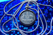 """Rare 1951 AUSTRALIA SILVER SIXPENCE a  30"""" .925  STERLING SILVER SNAKE CHAIN"""
