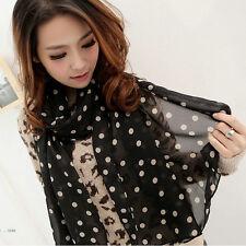 New Women's Fashion Long Soft Black White Dot Chiffon Scarf Wrap Shawl Scarves