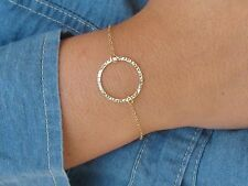 Circle bracelet, gold bracelet, bridesmaid jewelry, eternity karma bracelet,