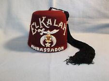 Vintage Shriners Jeweled Fez El Kalah Ambassador Ceremonial Masonic Hat