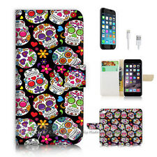 iPhone 6 6S Plus (5.5') Flip Wallet Case Cover! P2044 Sugar Skull