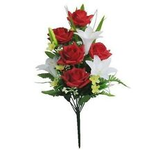"""New Red White Poly Silk MEMORIAL ROSE LILY FLOWER 20""""BOUQUET CEMETERY"""