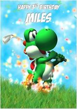 Yoshi Golf Super Mario Birthday Card A5 Personalised with any wording