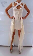DICE KAYEK Made in France Off White Mini Dress with Suspenders Sz S