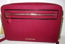 Michael Kors Frame Out Large East West Crossbody Cherry Red Leather NWT $178