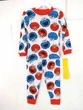 TODDLER BOYS SESAME STREET ELMO AND COOKIE MONSTER PAJAMAS SIZE 4T