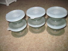 Lot of 6 Tupperware Smokey Gray Ice Cream Sundae Cups Footed Bowls with Lids