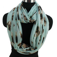Fashion Women's Pug Dog Animal Print Mint Blue Infinity Circle Loop Scarf Snood